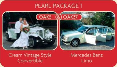 Pearl Package 1 - Cream Vintage Style Convertible and Mercedes Benz Limo - Click for More Details